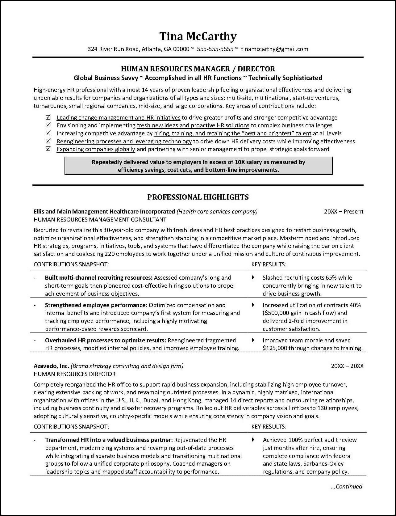Human Resources Resume Human Resources Resume Page 1 human resources resume|wikiresume.com