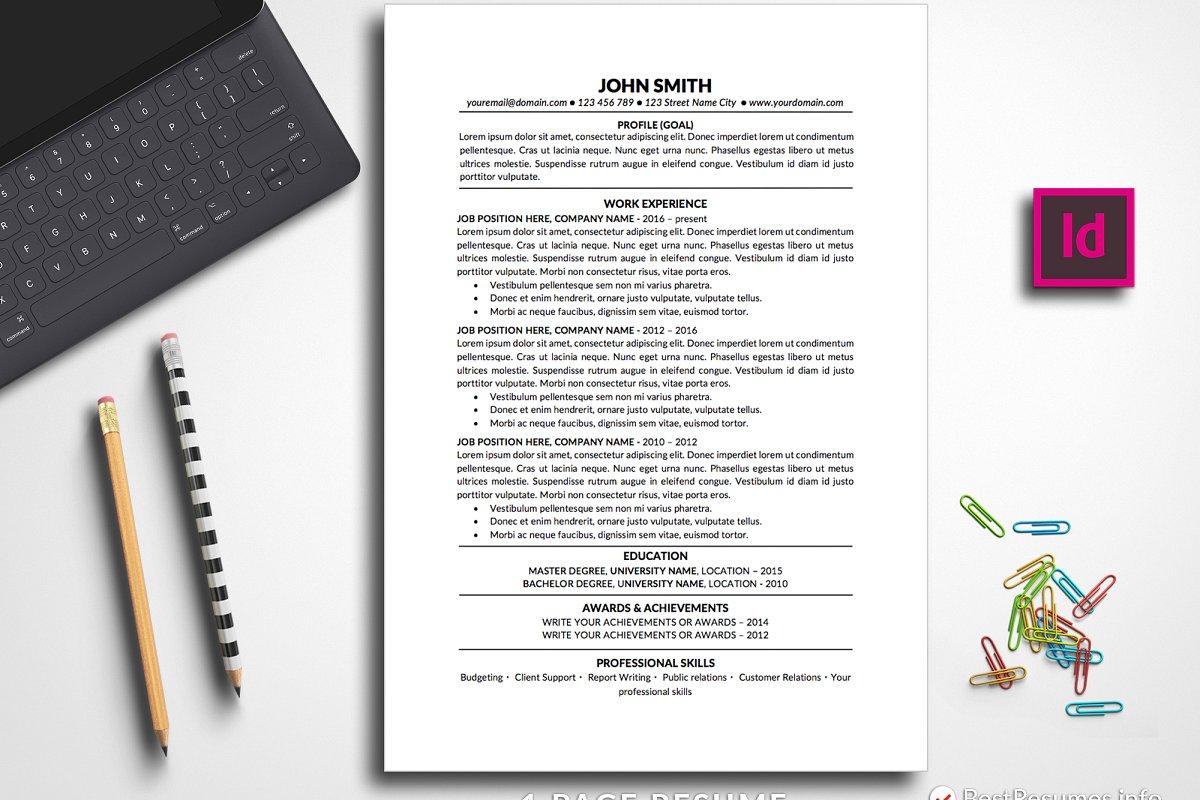 Indesign Resume Template Resume Template John Smith 1 Page indesign resume template|wikiresume.com