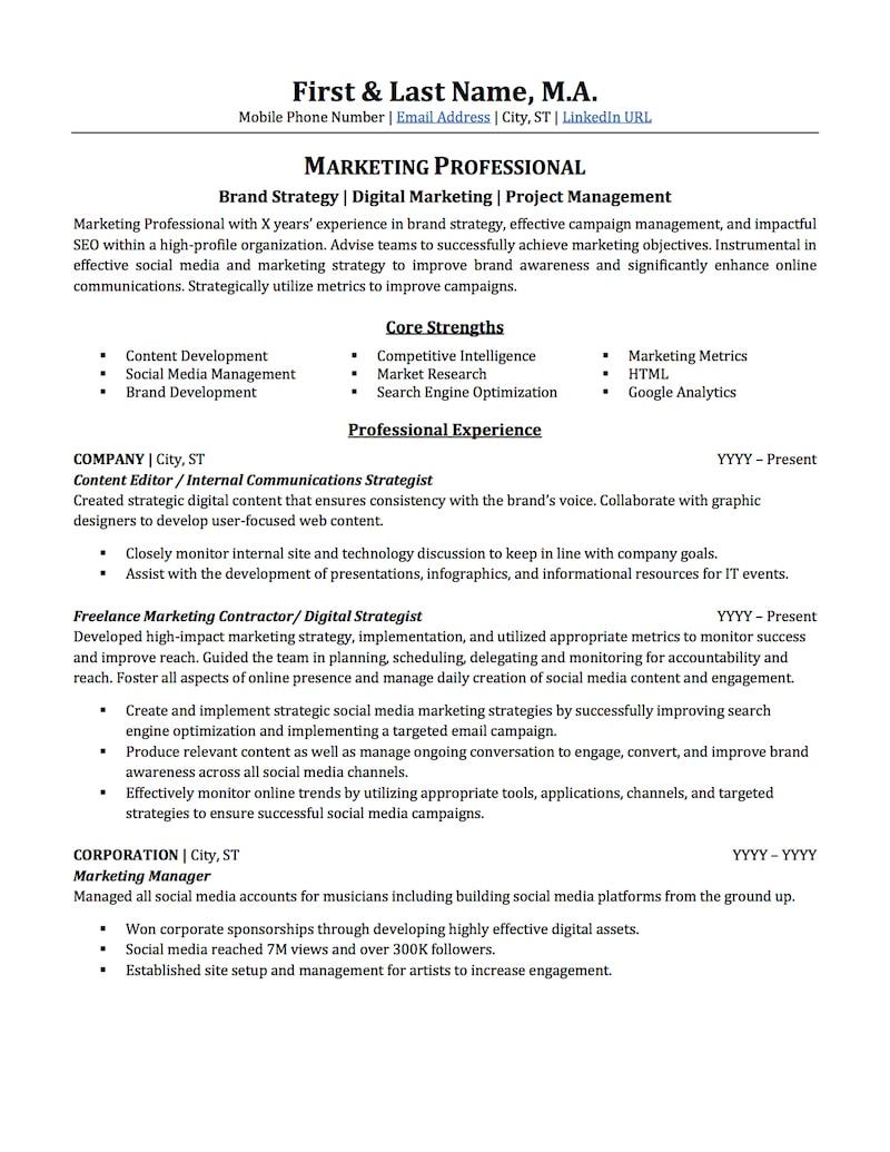Marketing Resume Examples  Advertising Marketing Resume Sample Professional Resume Examples