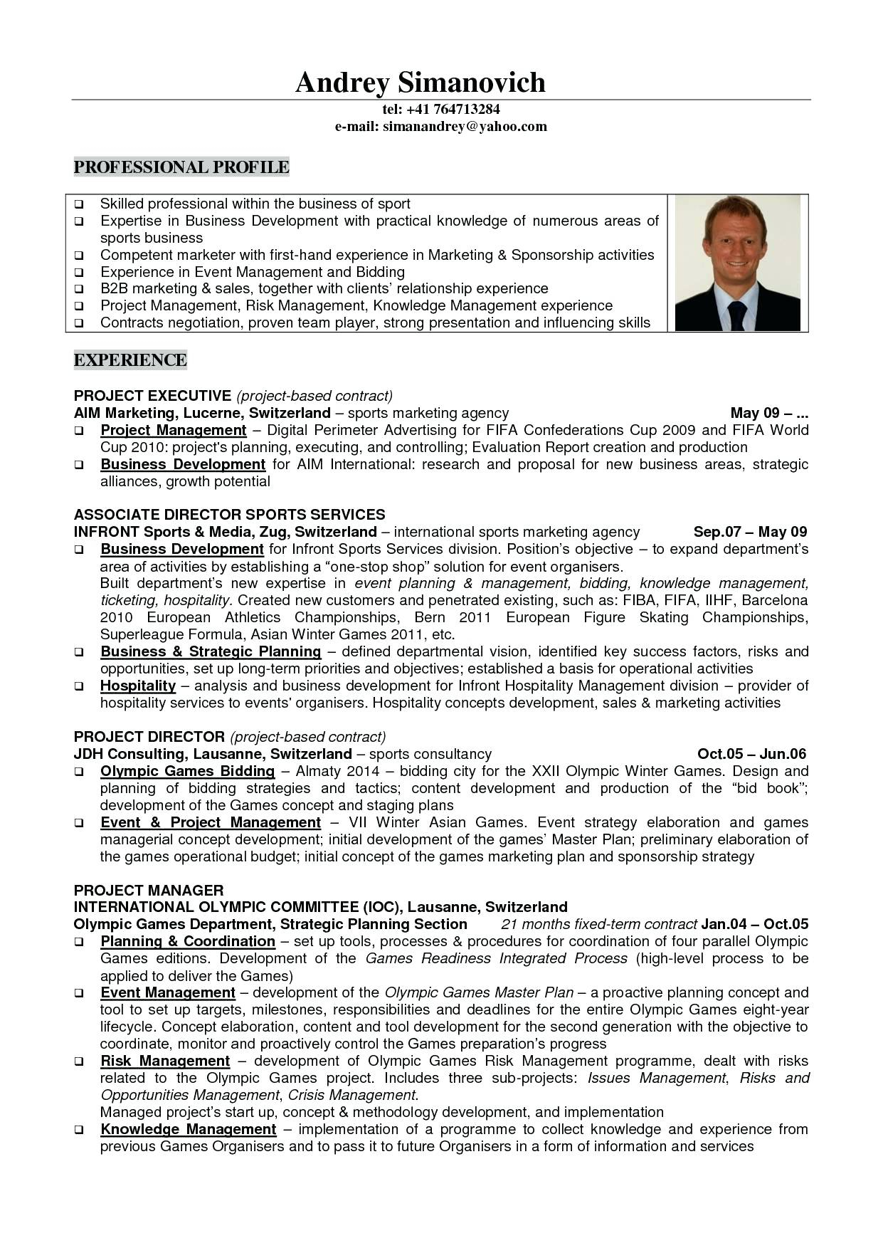 Marketing Resume Examples  Sports Marketing Resume Examples Best Of Management Samples 1 Entry