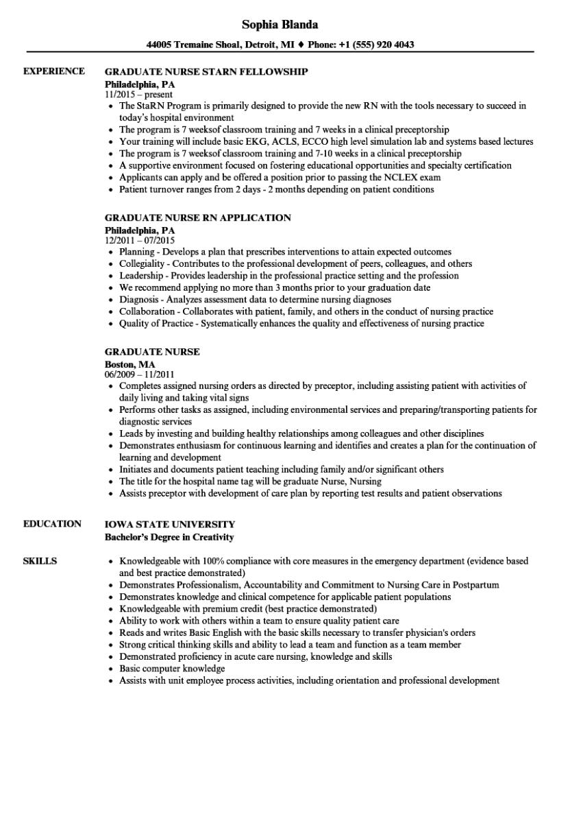New Grad Nurse Resume Graduate Nurse Resume Sample new grad nurse resume wikiresume.com