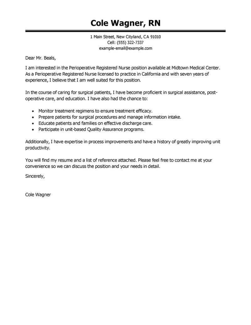 Nurse Cover Letter Healthcare Perioperative Nurse Executive 800x1035 nurse cover letter|wikiresume.com