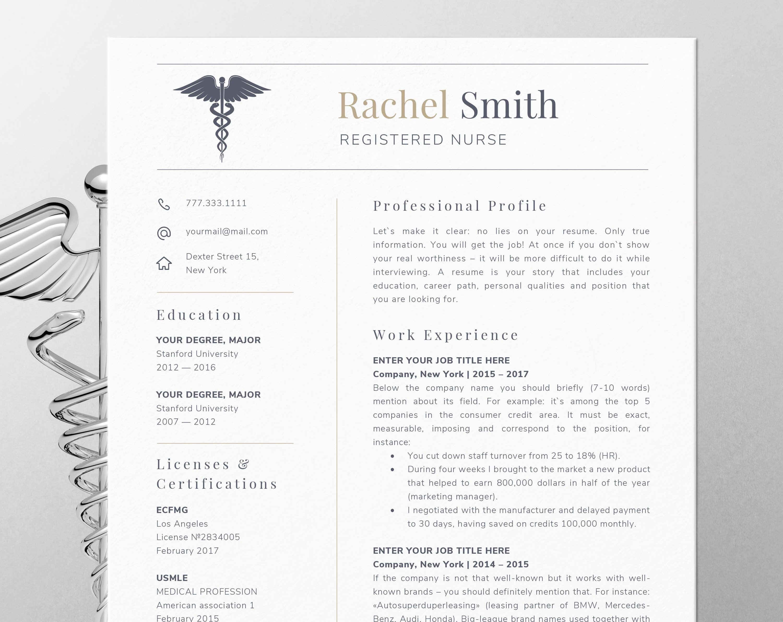 Nurse Resume Templates Nursing Resume Template For Word Nurse Cv Template Rn Etsy