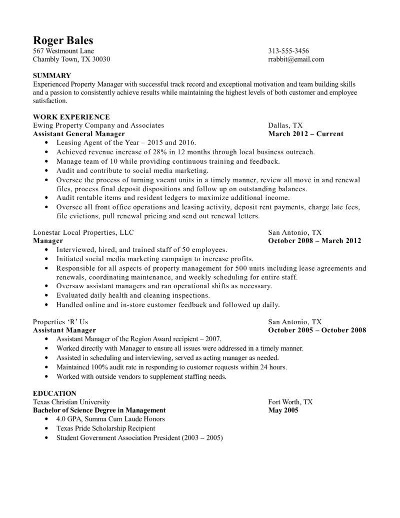 Property Manager Resume Property Manager Resume Experienced