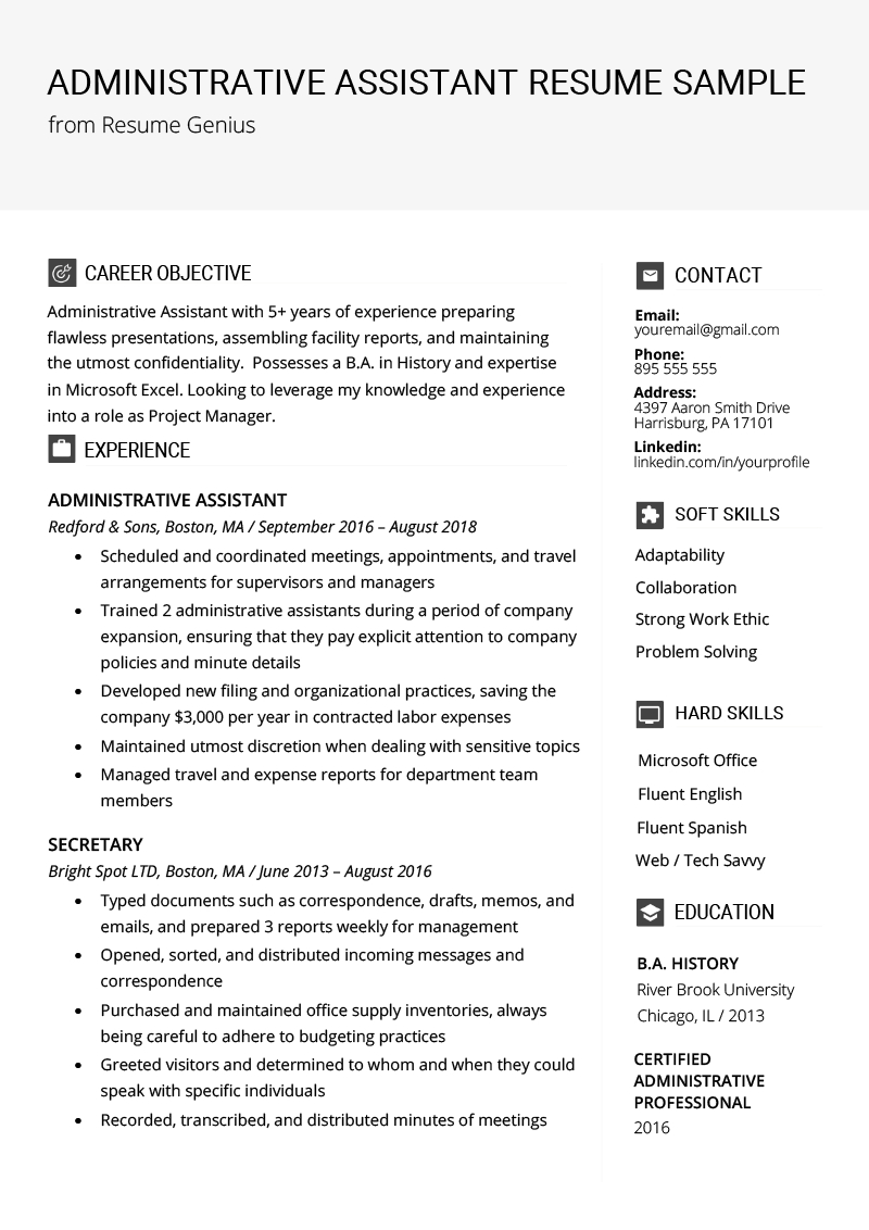 Resume Examples Office  Administrative Assistant Resume Example Writing Tips Resume Genius