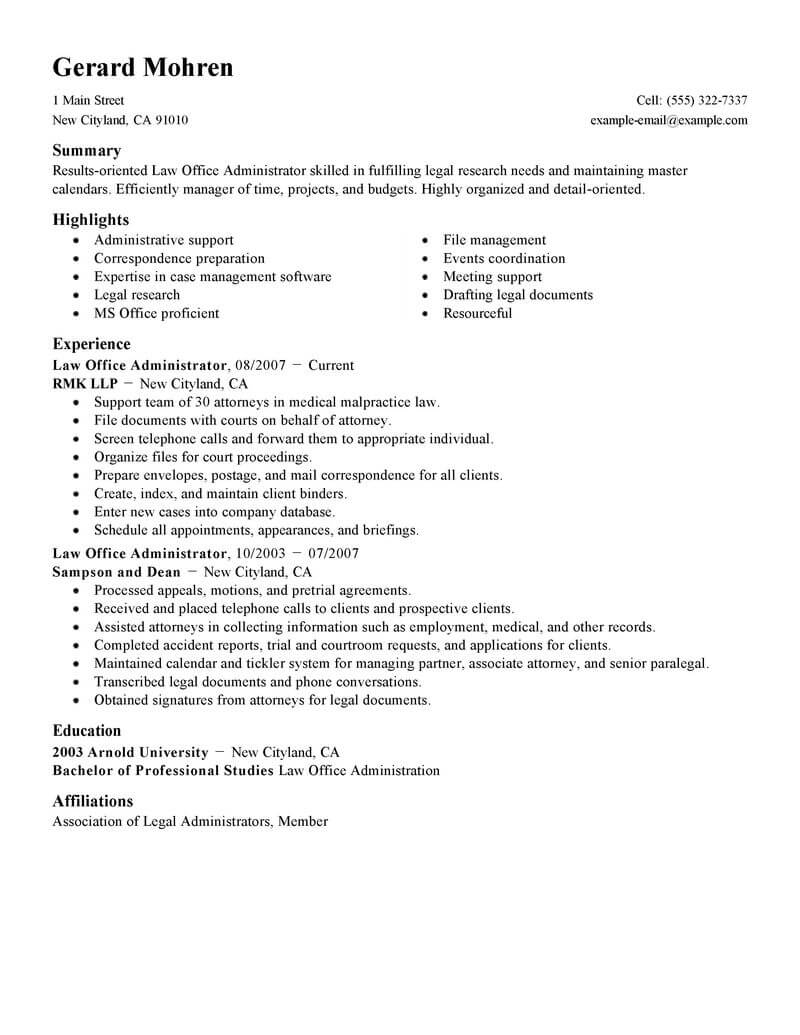 Resume Examples Office  Best Office Administrator Resume Example Livecareer