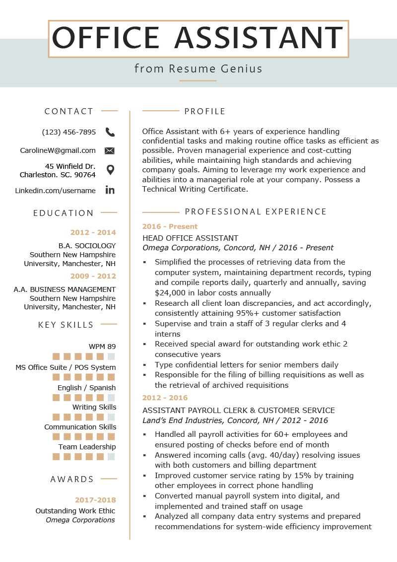 Resume Examples Office  Office Assistant Resume Example Writing Tips Resume Genius