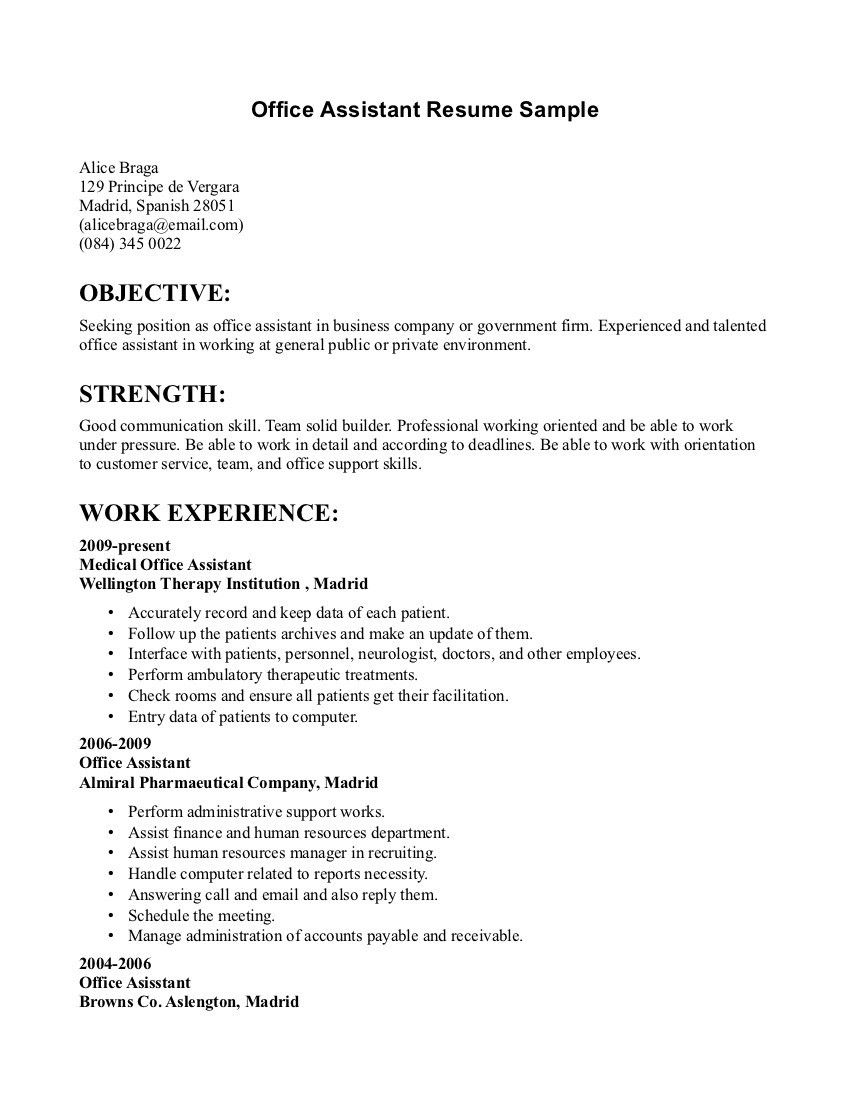 Resume Examples Office  Office Work Resume Lovely Virtual Assistant Resume New Fresh