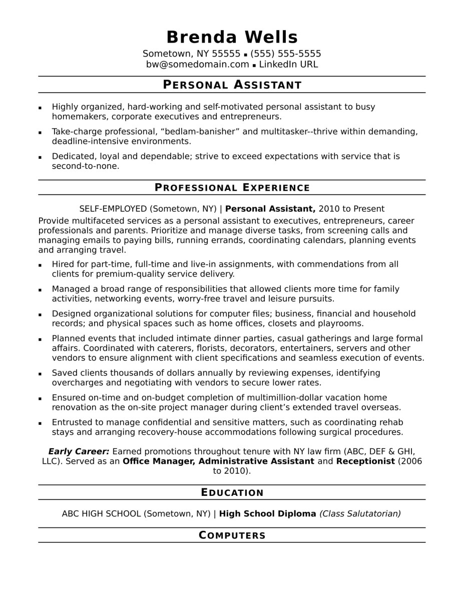 Resume Examples Office  Personal Assistant Resume Sample Monster