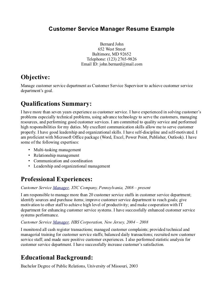 Resume Objective Examples  Customer Service Resume Objective Examples Objectives 10 Summary Of