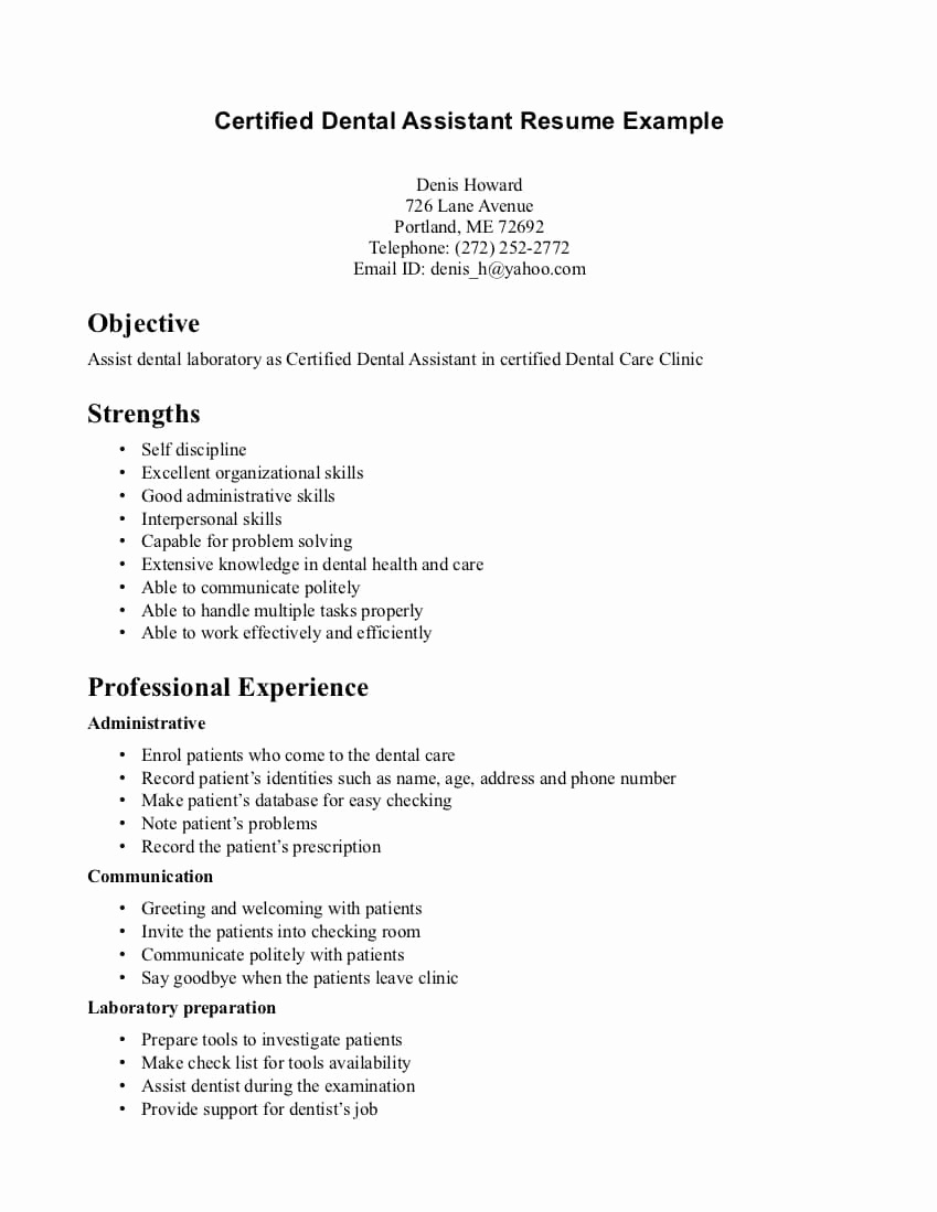 Resume Objective Examples  Dentist Resume Objective Examples Lovely 20 Dental Hygiene Resume
