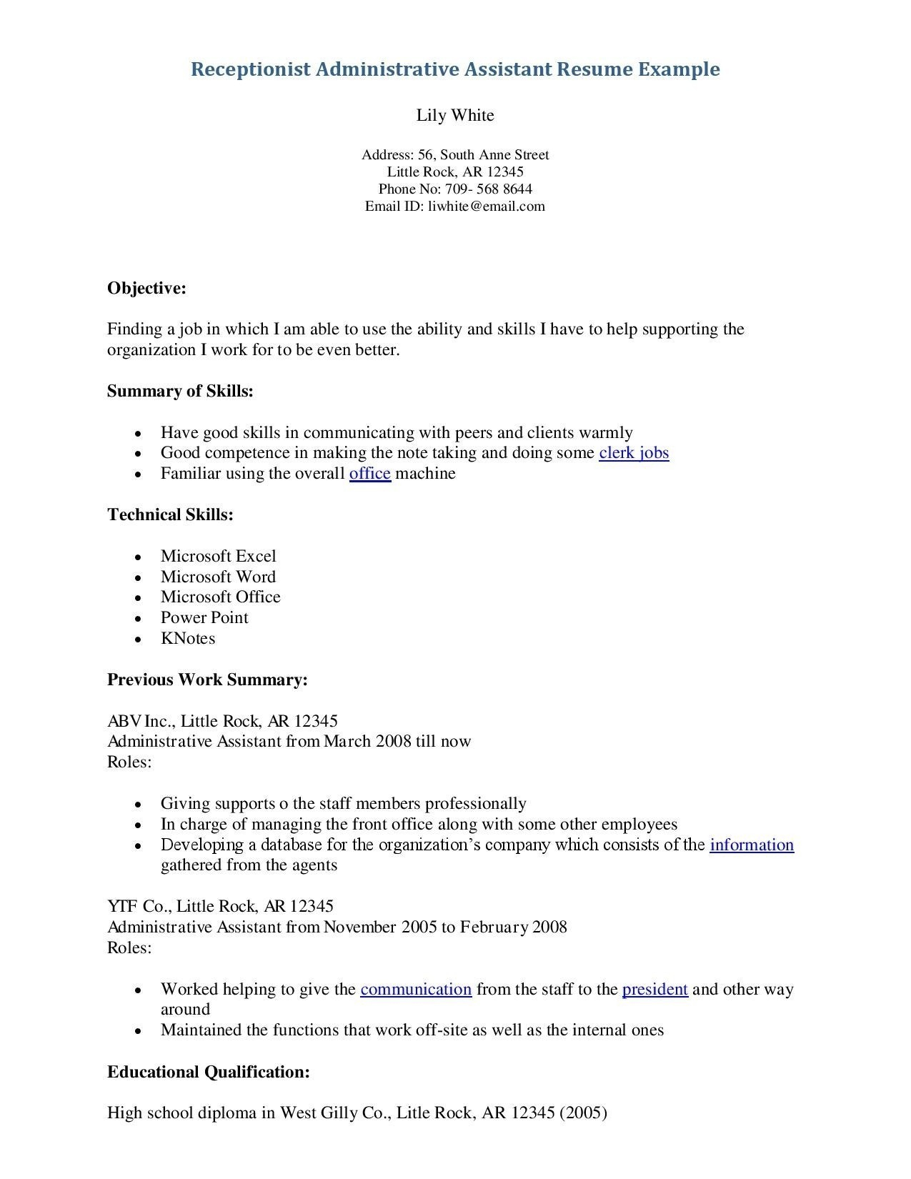 Resume Objective Examples  Receptionist Resume Sample Pdf New Resume Objective Examples For