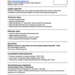 Resume Skills Examples  Sample Resume Format For Fresh Graduates One Page Format