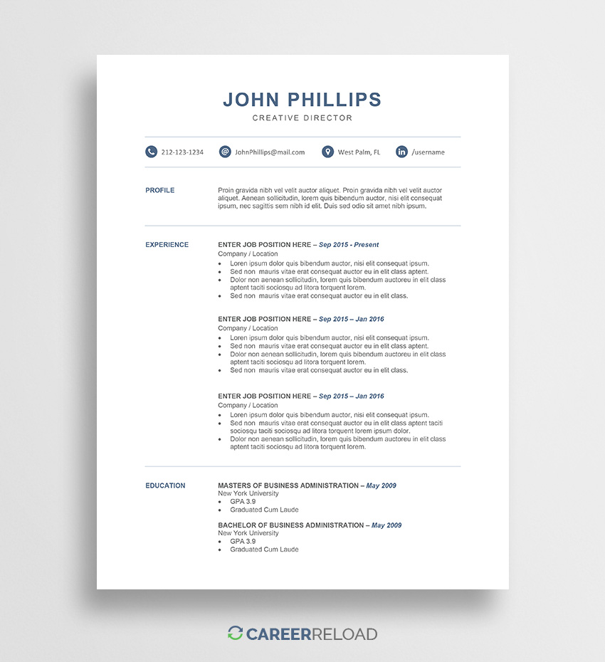 Resume Template Free Word Resume Template John 01 resume template free|wikiresume.com