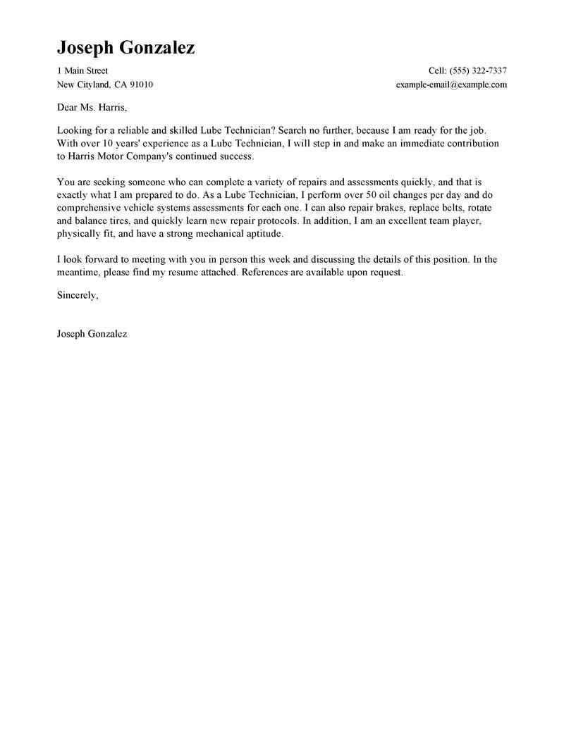 Sample Cover Letter For Resume Customer Service Lube Technician Standard 800x1035 sample cover letter for resume|wikiresume.com