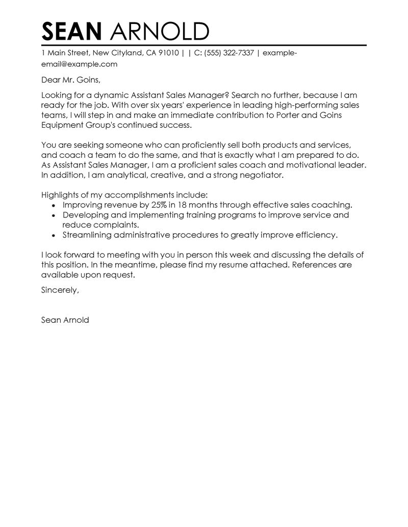 Samples Of Cover Letter  Leading Professional Assistant Manager Sample Cover Letter Examples