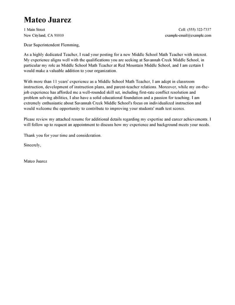 Teaching Cover Letter Examples Leading Professional Teacher Cover Letter Examples Resources