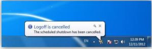Cancel Log Off