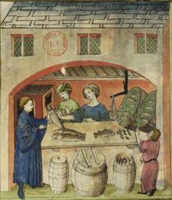 Latin 9333, fol. 80v, Marchand de poisson salé1.jpg