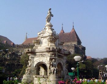 The Flora Fountain lies at the centre of South Bombay. It is now known as Hutatma Chowk (Martyrs' square.)