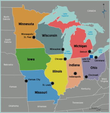 Los ocho estados del Midwest: Ohio, Indiana, Michigan, Illinois, Missouri, Iowa, Minessota y Wisconsin