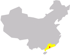 Location of Guangzhou in China