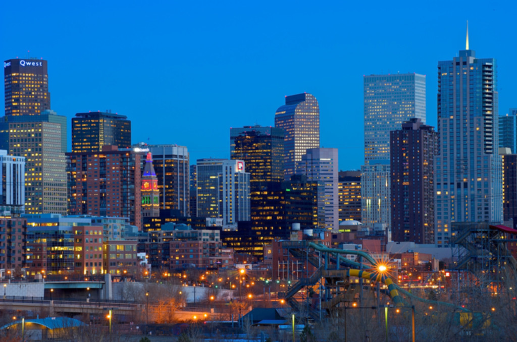 Denver's skyline at night
