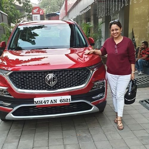 Sonalika in her MG Hector Sharp.  with