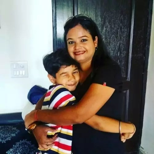 Vedant Sinha with Mother