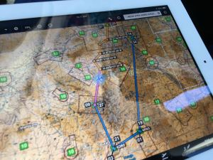 Foreflight VFR chart Rocky Mountains with user defined waypoints, photo credit wikiWings