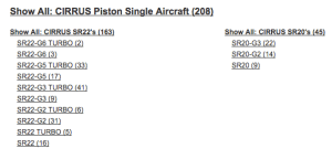 Example Controller website listing of Cirrus piston single airplanes, October 20, 2017