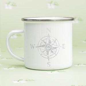 Emailletasse-bedruckt-Kompass - silberner Rand-Grau