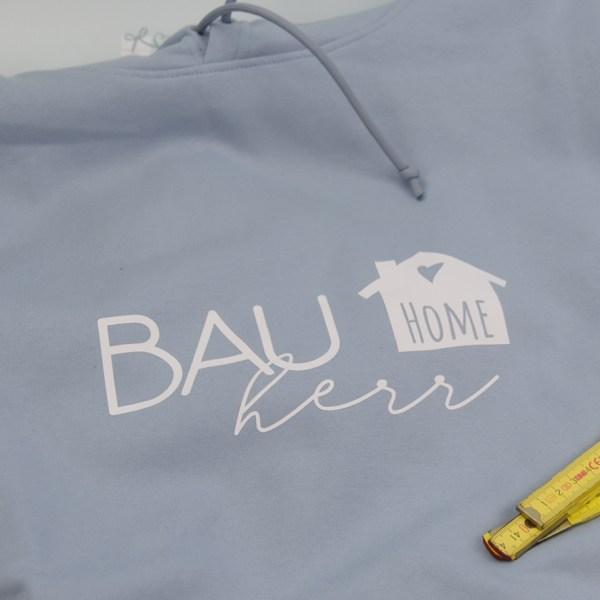 Bauherr - Hoodie - Blau-Weiß - Detail