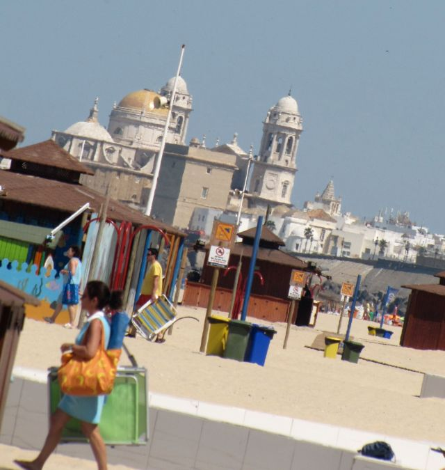 Cadiz Cathedral from the beach area