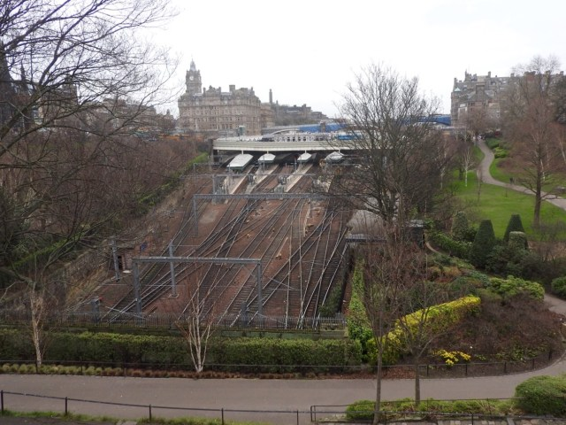 Edinburgh Waverley Train Station taken from Playfair Steps