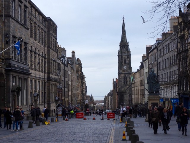 View down the Royal Mile to the Firth of Forth, Edinburgh