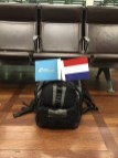 Celebration flags & backpack, 1st scheduled Eurostar from London to Amsterdam