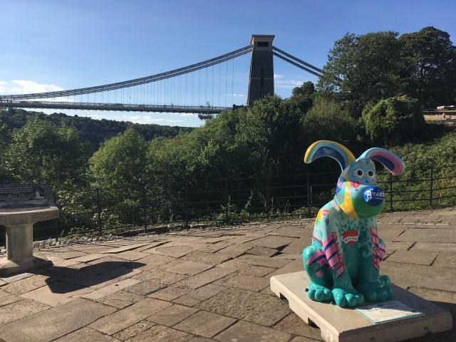 Gromit in front of the Clifton Suspension Bridge, Bristol