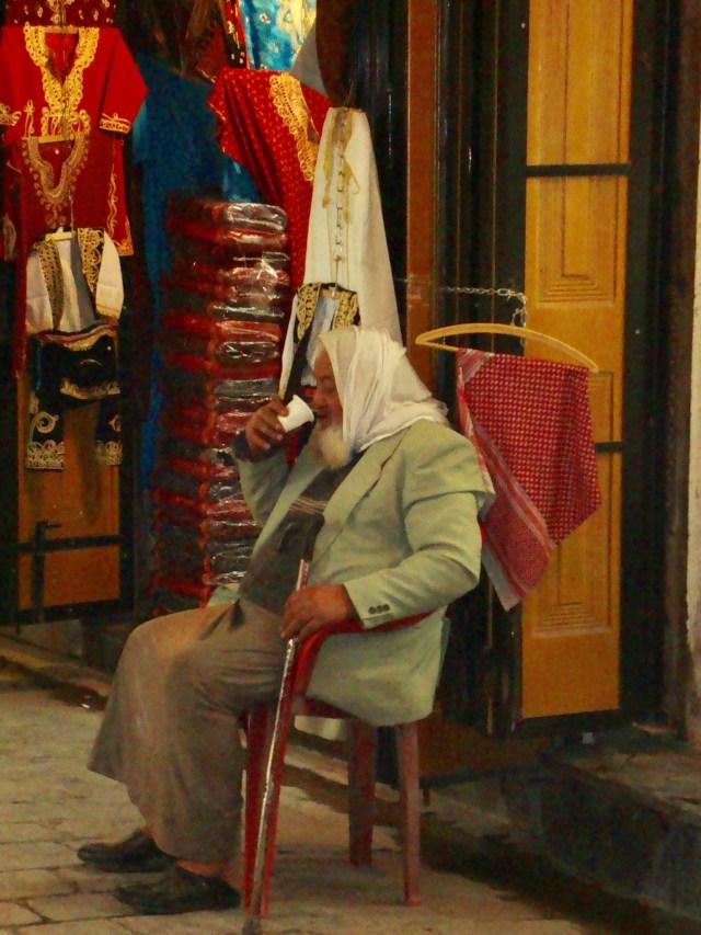 Old Man Taking Refreshment, Aleppo Souk, Syria
