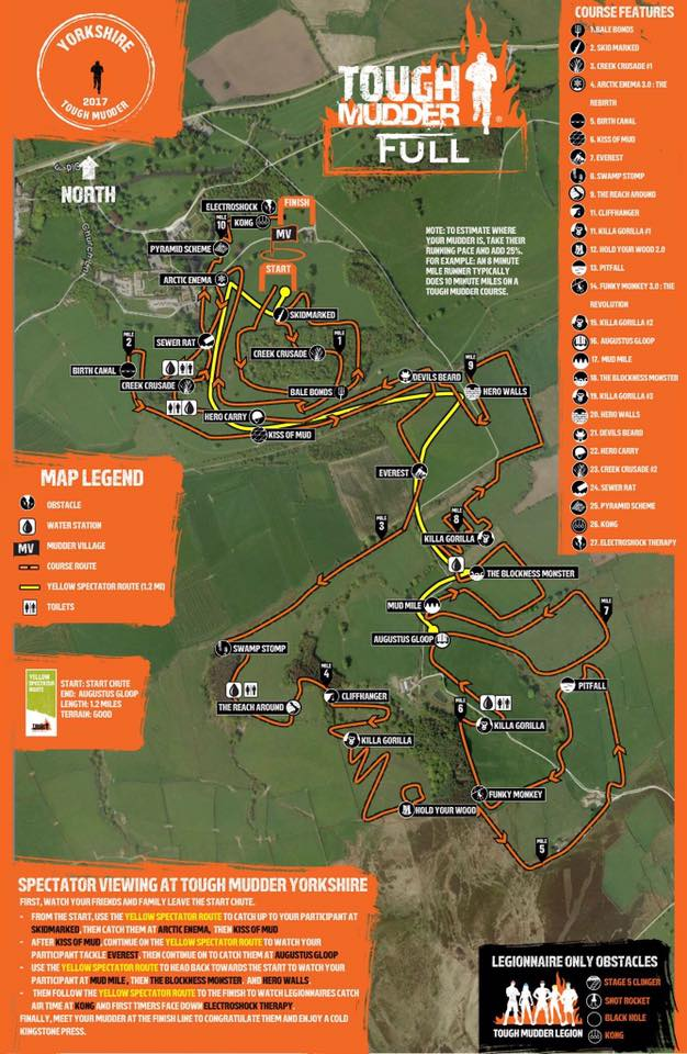 Tough Mudder Yorkshire Map