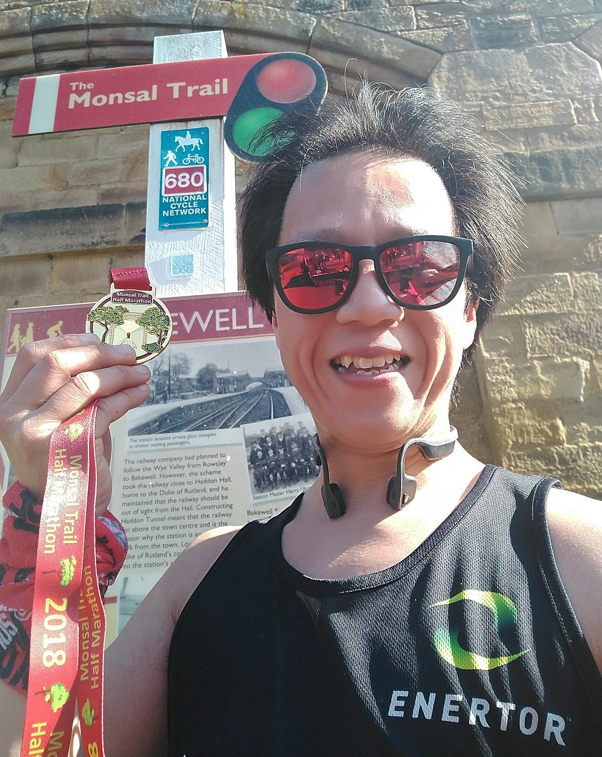 Monsal Trail Half Marathon Medal selfie