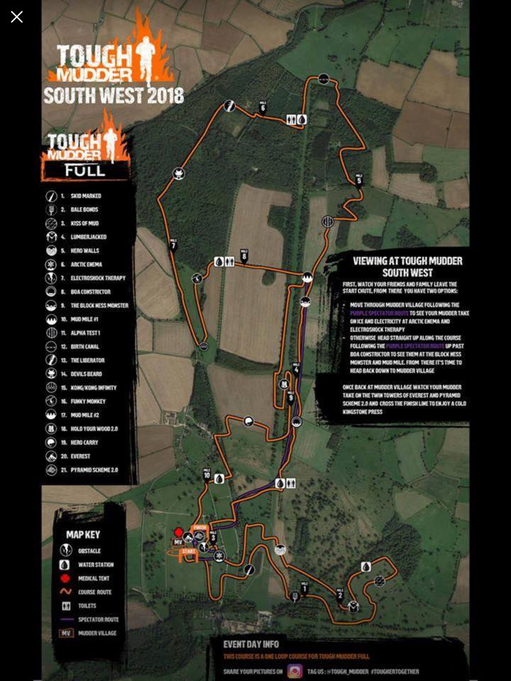 Tough Mudder South West 2018 Wil Chung - Map