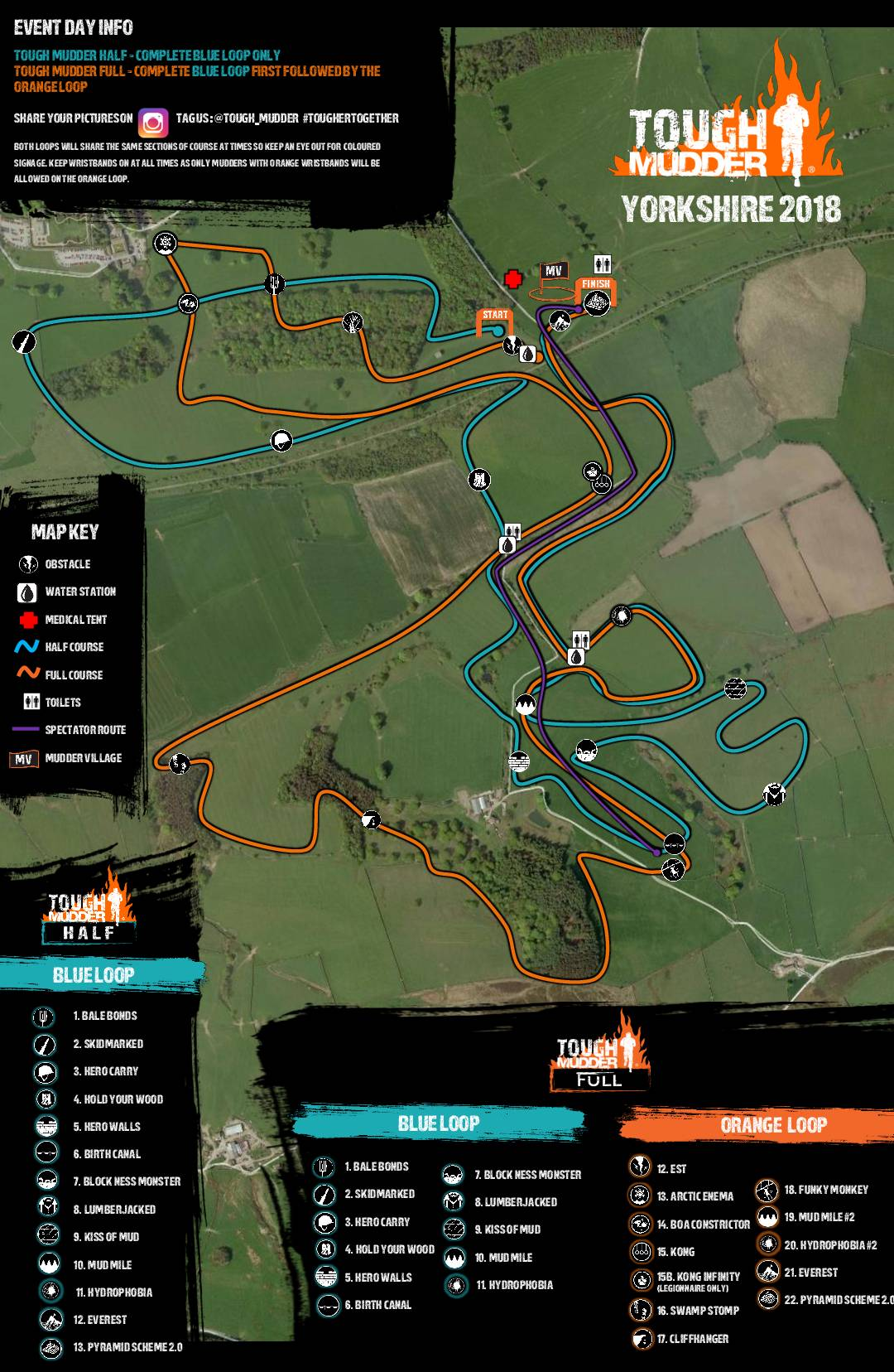 Tough Mudder Yorkshire 2018 Wil Chung Course Map