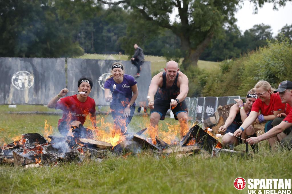 Toasting marshmallows at Spartan Race