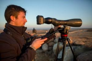 De omgeving scannen, op zoek naar wolven. Photo: Tom Palmaers