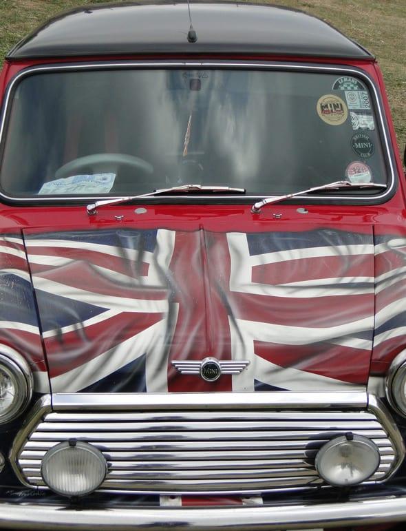 mini with british flag on hood