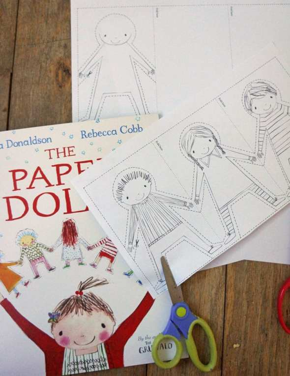 paper dolls chain template