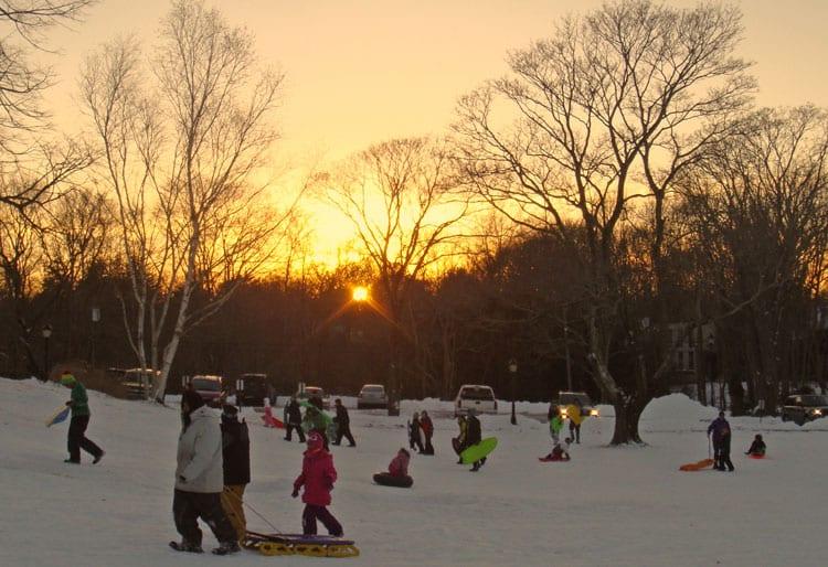 sunset sledding