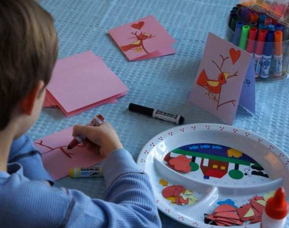 drawing branches on Valentine card