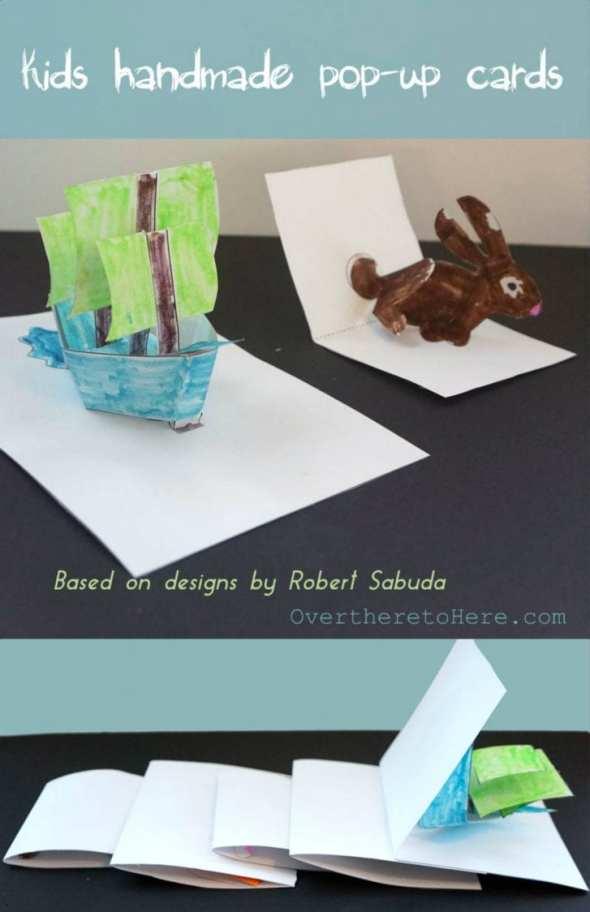 kids homemade pop up cards and wonderland